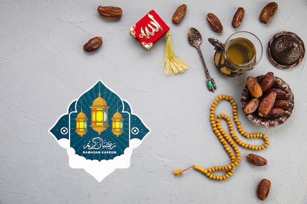 Composizione piana del ramadan laico con copyspace