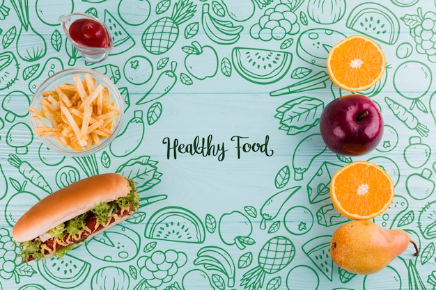Composizione piatta laici di cibo sano e malsano