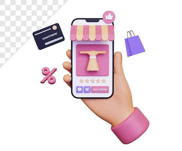 Compras en línea en 3d a través de un teléfono inteligente con icono de descuento y bolsa de compras