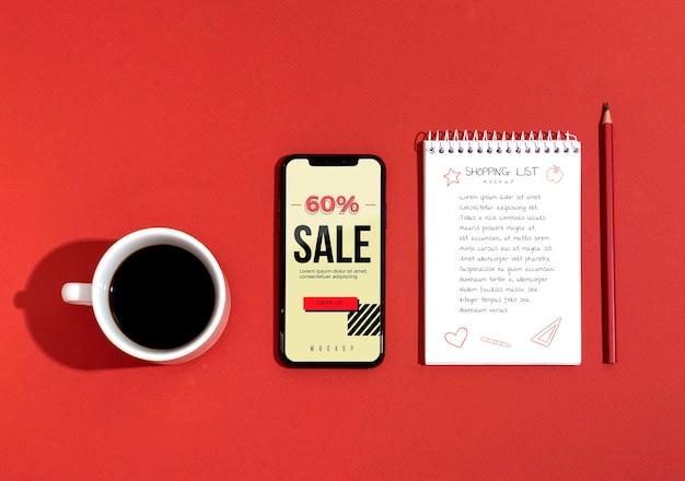 Compras en línea en lista móvil