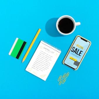 Compras en línea en maquetas móviles