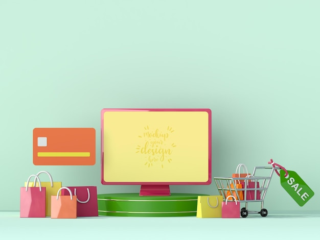 Compras en línea con plantilla de maqueta de computadora y elementos de compra