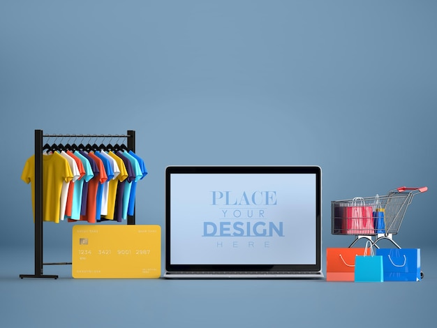 Compras en línea con plantilla de maqueta de computadora portátil y elementos de compra
