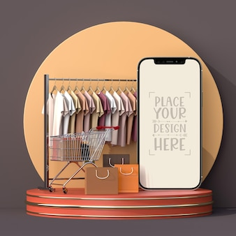 Compras en línea con plantilla de maqueta de elementos móviles y comerciales