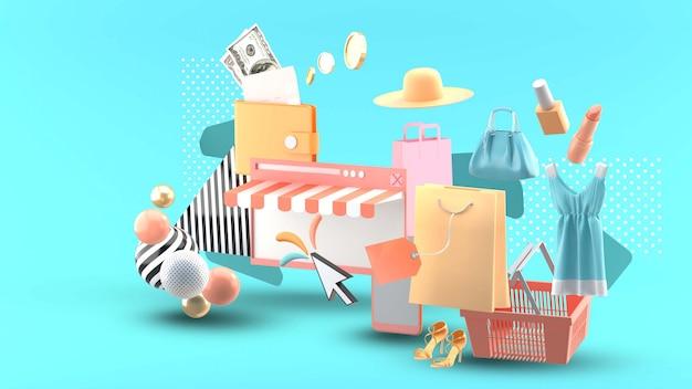 Compras en línea en el sitio web rodeado de ropa, cosméticos, billetera y cestas de compras en azul
