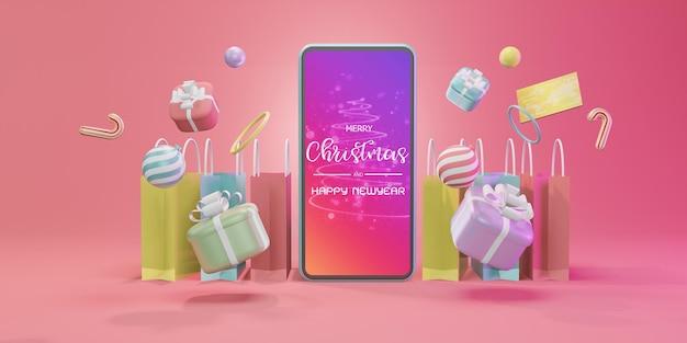 Compras en línea con smartphone. marketing y marketing digital, caja regalo navideña, pelotas, publicidad social, ilustración 3d