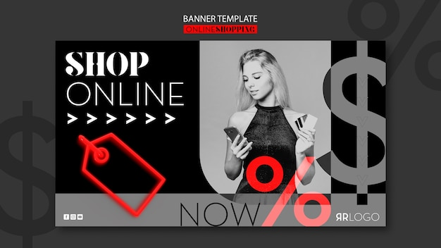 Compre ahora banner horizontal de moda en línea
