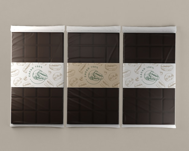 Compresse di lamina di cioccolato mock-up