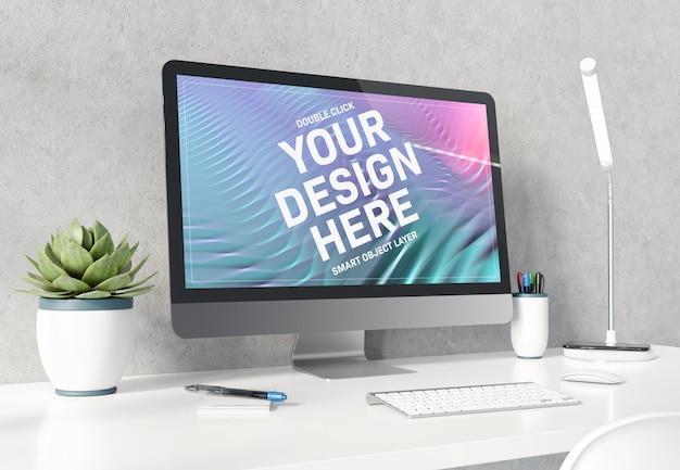 Computadora en maqueta de escritorio blanco