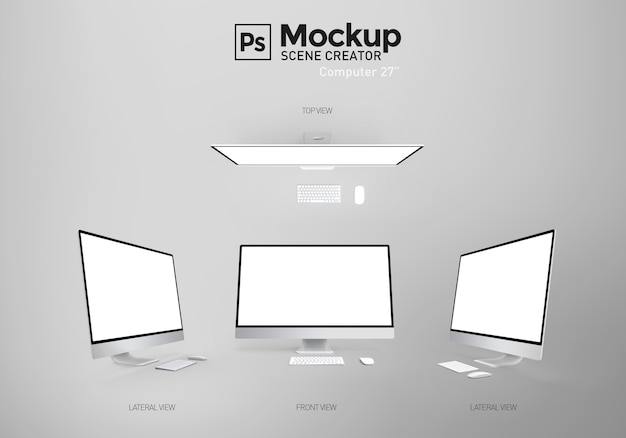 Computadora con pantalla en blanco. creador de escena. recurso.