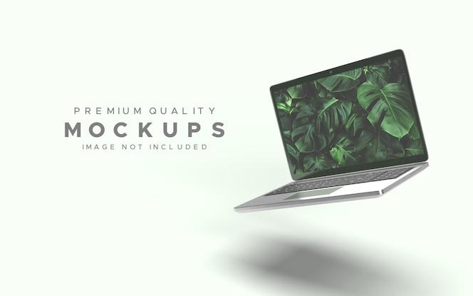 Computadora portátil o portátil en maqueta de gravedad