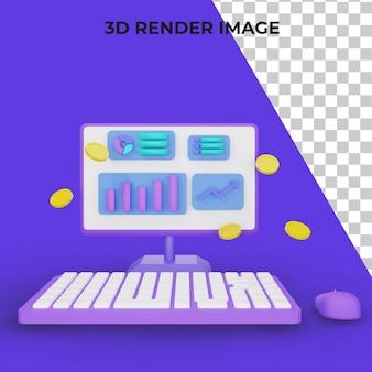 Computadora de renderizado 3d con mayor concepto de tráfico psd premium