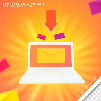Computer 3d met e-mail