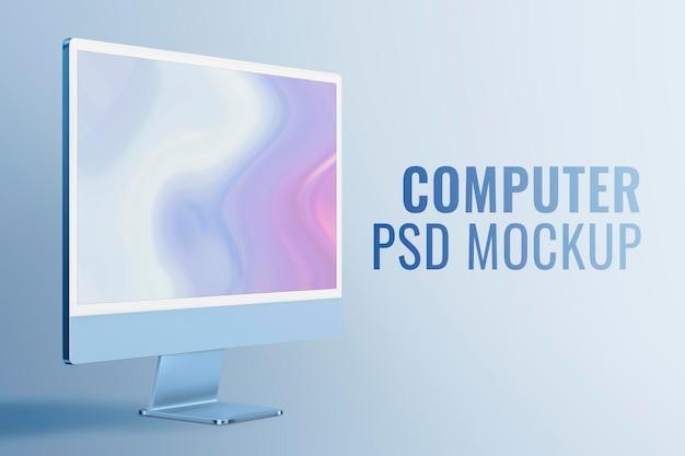 Computer desktop scherm mockup psd blauw digitaal apparaat minimalistische stijl