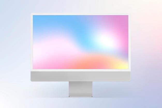 Computer desktop scherm mockup psd grijs digitaal apparaat minimalistische stijl