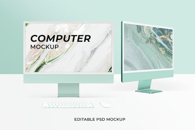 Computer desktop scherm mockup psd groen digitaal apparaat minimalistische stijl
