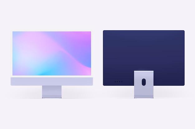 Computer desktop scherm mockup psd paars digitaal apparaat minimalistische stijl