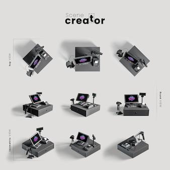 Computer heeft verschillende hoeken ingesteld voor illustraties van scènemaker