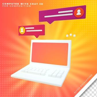 Computer met chat 3d
