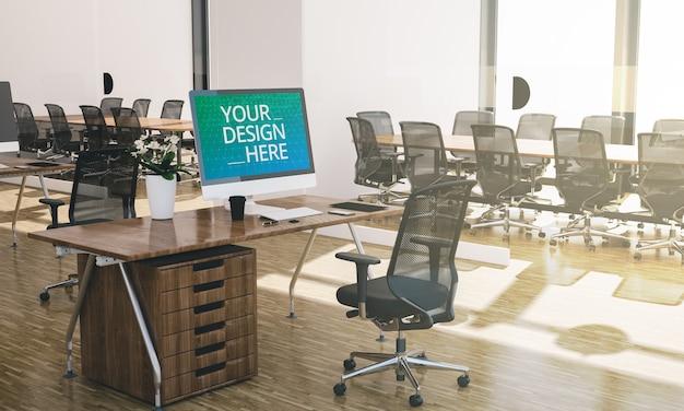 Computer mock up op kantoor interieur 3d-rendering