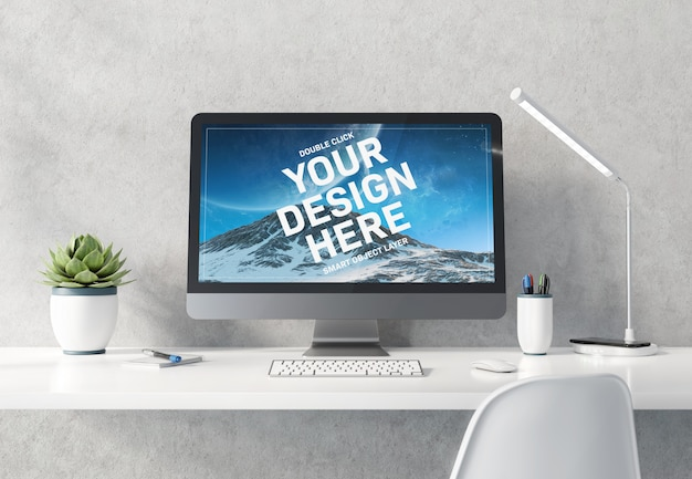 Computer op wit bureaublad concreet interieur mockup