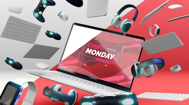 Computer portatile cyber lunedì in vendita mock-up