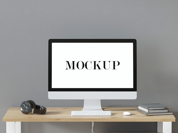 Computerscherm mockup 3d-rendering