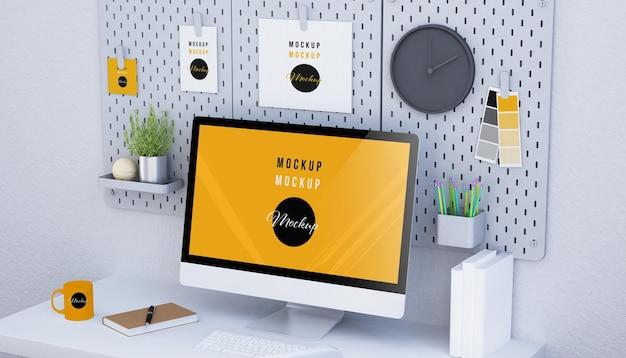 Computerscherm mockup ontwerp 3d-rendering