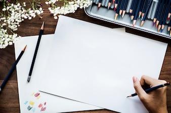 Conceito de espaço de trabalho de ilustração com espaço de cópia