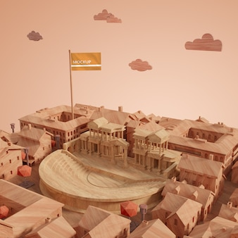 Concept de dag 3d bouw van de stedenwereld