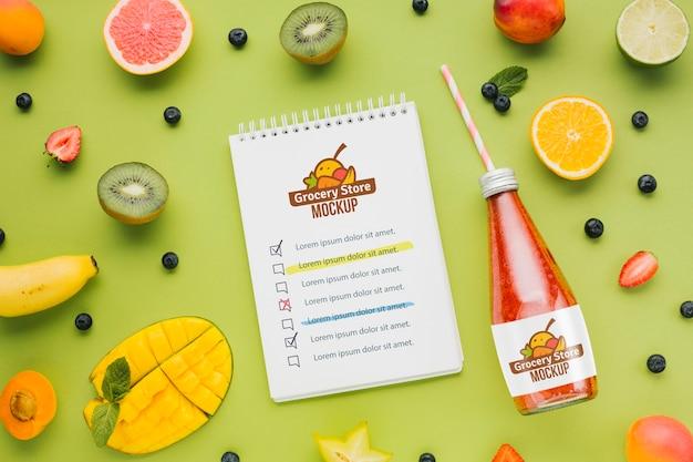 Concept mock-up voor sap en smoothie