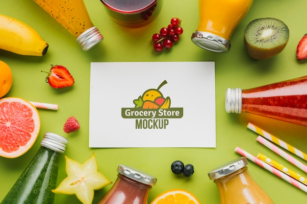 Concept mock-up voor sap en smoothie