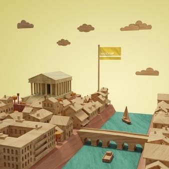 Concept van de de werelddag van de stedenwereld 3d bouwmodel