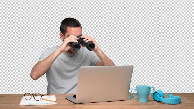 Concept van een jonge man bezorgd over zijn veiligheid op zijn laptop