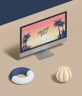 Concepto abstracto de verano con computadora