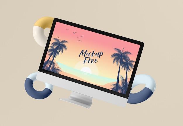 Concepto abstracto de verano con pantalla