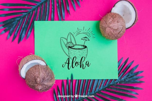 Concepto de aloha con coco
