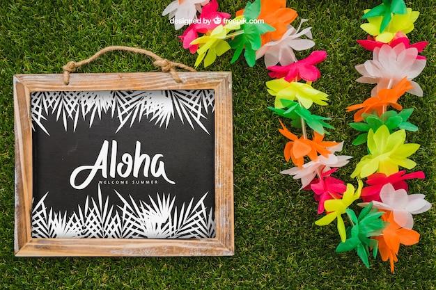 Concepto aloha con pizarra