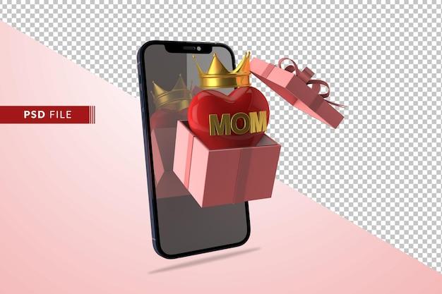Concepto de amor digital para el día de la madre con caja de regalo corazón rojo 3d render