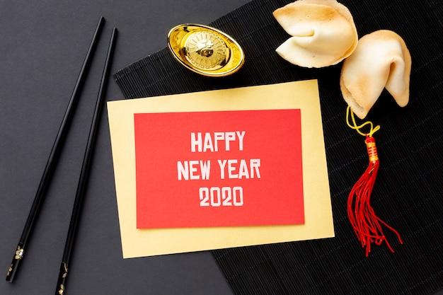 Concepto de año nuevo chino con maqueta