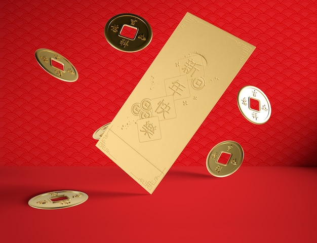 Concepto de año nuevo chino con monedas de oro