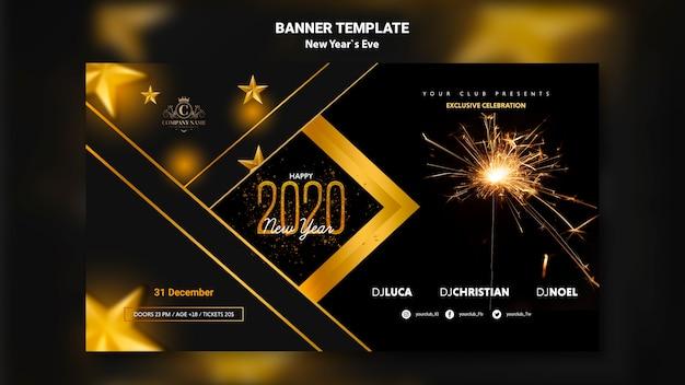 Concepto de banner para plantilla de víspera de año nuevo