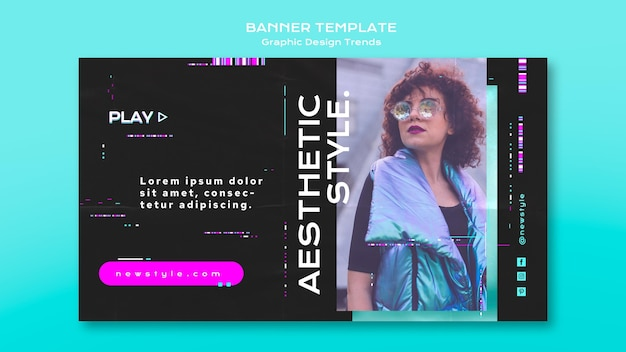 Concepto de banner de tendencias de diseño gráfico