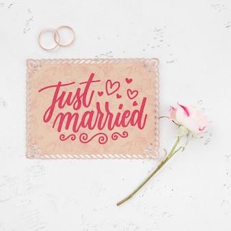 Concepto de boda maqueta con flor