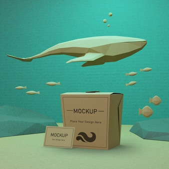 Concepto de bolsa de papel del día del océano con delfines