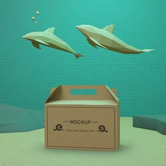 Concepto de bolsa de papel sostenible para el día del océano