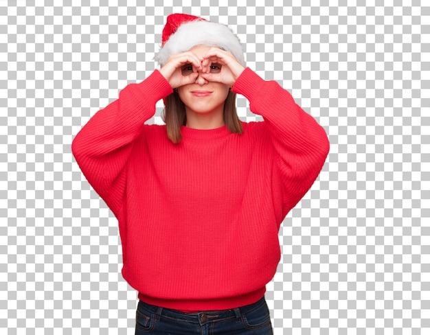 Concepto bonito joven de la navidad de la mujer. fondo editable