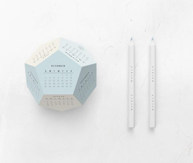 Concepto de calendario hexagonal de maqueta