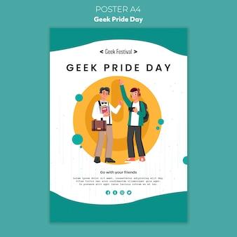 Concepto de cartel del día del orgullo geek