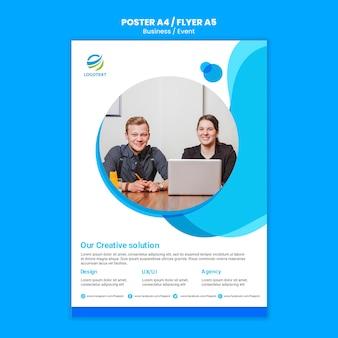 Concepto de cartel en línea de negocios con plantilla